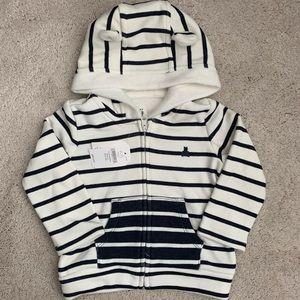 NWT Gap Baby Cozy Stripe Bear Hoodie